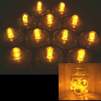 QTY 12 Amber LED Submersible Underwater Tea lights TeaLight Flameless US Shipper