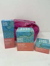 Sand & Sky Pink Clay Icons Kit Body Sand, Face Mask, Exfoliator, Pink Travel Bag