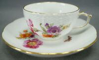 KPM Berlin Hand Painted Dresden Floral Butterfly & Gold Tea Cup & Saucer C