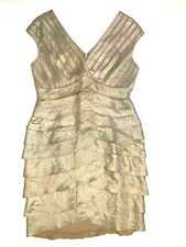 Adrianna papell sleeveless v neck tiered dress gold size 12p petite holiday