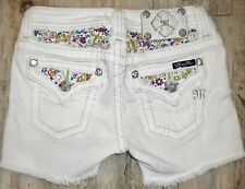 NEW TAG SZ 12 GIRLS White MISS ME # JK5784H Shorts JEAN SHORTS Actual 25X4