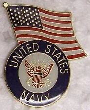 Hat Lapel Push Tie Tac Pin Navy Emblem & Flag NEW