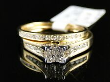 Women'S Ladies Yellow Gold Princess Cut Real Diamond Bridal Engagement Ring Set
