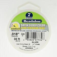 "Beadalon Satin Silver 7 Strand .018"" 30' Foot Spool Stringing Wire Colored Wire"