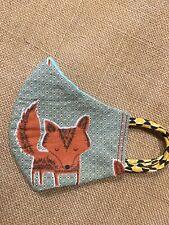 Handmade FACE MASK REVERSIBLE Three Layer Cotton Chic Boho Fox Animal Print OOAK