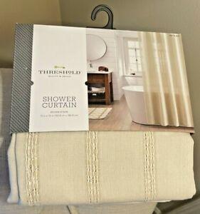 "NEW Threshold Shower Curtain Khaki Cotton Woven Stripe 72"" 064 18 2027 NWT"