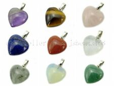 Natural Gemstone Heart Reiki Chakra Healing Pendant Necklaces Beads