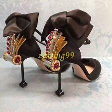 Womens RhinestoneS Luxury Wedding Ladies Party Buckle Shoes Round Toe Black US7