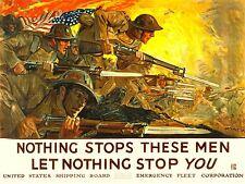 PROPAGANDA WAR WWI USA SOLDIER GUN BAYONET FLAG BATTLE ART POSTER PRINT LV7280