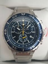 Nautica Men's  Stainless Steel Blue Face Chronograph Watch NAD 18539G  45m Case