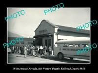 OLD LARGE HISTORIC PHOTO OF WINNEMUCCA NEVADA, THE RAILROAD DEPOT STATION 1950