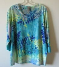 Chico's Blouse Blue Yellow Embellished Beaded Top Women's Size 3 XL/16