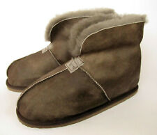 Mens Genuine Sheepskin Slipper Boots Real sheep wool Oiled Antique