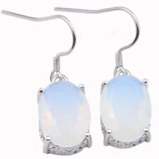 Classical Oval Shaped Rainbow Fire Moonstone Gemstone Silver Dangle Earrings
