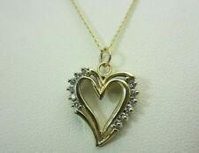 New 10K Yellow Gold and 0.15 CT Diamond Heart Pendant Chain Necklace 16 Inches