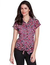 Per Una Ladies Short Sleeve Cotton Floral Summer Shirt Tie Top Size 14 BNWT M&S