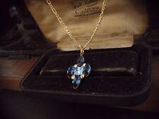 Vintage Jewellery Montana Blue & Sapphire Crystal Rhinestone Pendant Necklace