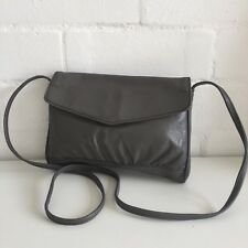 VINTAGE Genuine LEATHER Purse GREY Evening Club Bag Purse