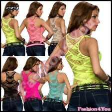 Top Sexy Mesh Womens Ladies Summer Casual Fishnet Vest Top ONE SIZE 6,8,10 UK