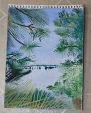 Original Watercolor Contemporary Marina Sailboats Foliage Henri Rousseau like