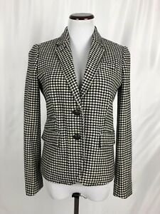 J. Crew Wool Houndstooth Blazer Size 4 Hip Length Fitted Career Wear