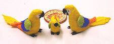 1:12 Scale 2 Parents & A Baby Yellow Parrot Doll House Miniature Exotic Bird P11