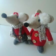 Mr & Mrs MOUSE fabric sitting mice CHRISTMAS DECORATIONS shelf ornament 12cm