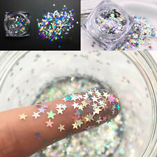 Fashion Nail Art Mixed Glitter (Star Bright Silver ) 10g Bag Holographic Chunky