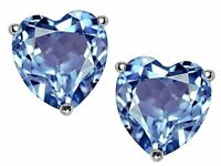 1 ct. Heart Aquamarine Stud Earrings in Solid Sterling Silver ~ MARCH BIRTHSTONE