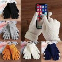 Women Wool Knitted Gloves Full Finger Warm Mittens Touch Screen Solid Color Gift