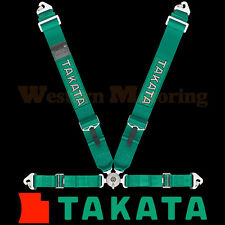 Takata Seat Belt Harness: Race 4-Point ASM - Green (Snap-On) 71000US-H2