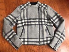 GAP Moto Jacket XS Womens Gray Plaid Black White Wool Blend Coat    NEW  !!!!!
