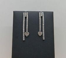 Orecchini earrings silver pendenti cuore in argento e zirconi