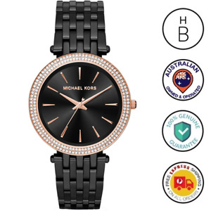 New Michael Kors Ladies Watch Darci Black IP Steel Rose Gold Glitz Bezel MK3407