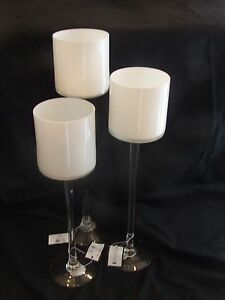 Crystal Clear/White Turna Candle Holder, Set of 3