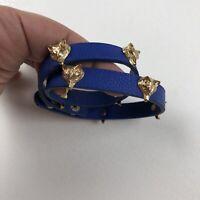 Fox Head Wrap Around Bracelet Blue Vegan Leather Gold Tone Snap Closure