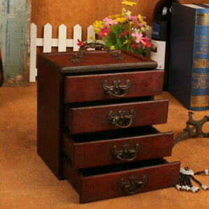 Wooden Vintage Case Treasure Chest Storage Box Jewelery Ring Bracelet Organiser