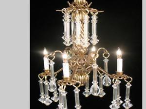 "Dollhouse Miniature Lighting Electrical CHANDELIER  ""LADY PAMELA"""