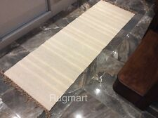 Natural Cream Grey Striped Cotton Jute Reversible Washable Runner 70x200cm -40%