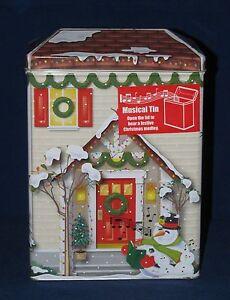 Christmas HOLIDAY HOUSE Musical Storage Tin Box  NEW