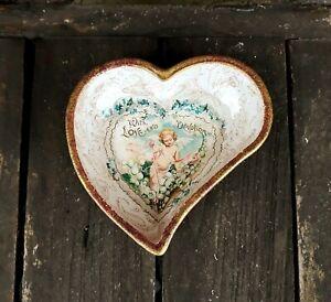 Shabby chic glass trinket bowl, Victorian vintage,  handmade - Valentine gift