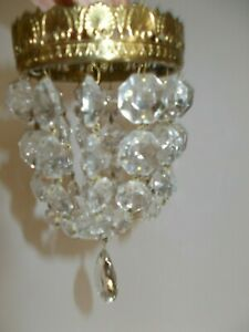 VINTAGE CUT GLASS BRASS SMALL FRENCH STYLE CHANDELIER