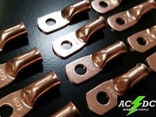 """(25) 6 gauge Ring 1/4"""" Hole Terminal Battery Lug Bare Copper Un-insulated Awg"""