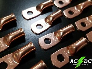 """(50) 6 gauge Ring 1/4"""" Hole Terminal BATTERY Lug Bare Copper Un-insulated AWG"""