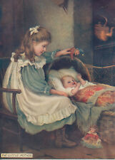 CHARMING GIRL ENTERTAINING BABY WITH JESTER DOLL ANTIQUE DOLLS PRINT 1905
