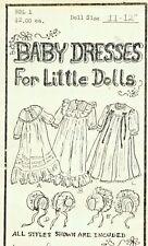 "11-12""Antique-Modern Baby Doll Christening Gown/Dress&Bonnet Variations Pattern"