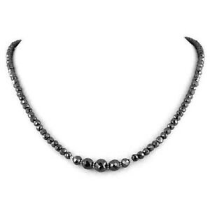 Black Diamond 3mm Faceted Beads Necklace Customized Length 18 inch 925 silver