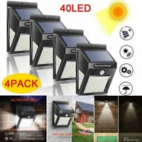 4pcs 40LED Solar Power Light PIR Motion Sensor Security Outdoor Garden Wall Lamp