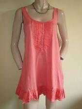 White Stuff ~ Orange Peach Cotton Tunic Mini Dress ~ Size 10 ~ Frilled Hem