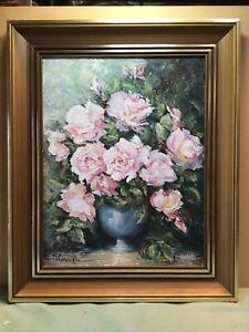 A Hamilton 1981 Roses Framed Oil Painting